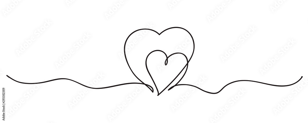 Fototapeta Continuous line art drawing. Couple of hearts symbolize love. Abstract hearts woman and baby. Vector illustration