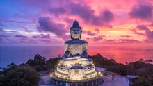 Aerial View Big Buddha At Twil...