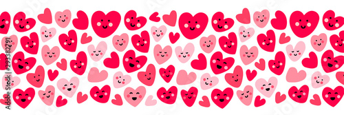 Photo  Cute childish background with funny kawaii cartoon characters of hearts