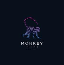 Monkey Tech Logo Design. Animal Monkey Finger Print Logo Design. Modern Abstract Logo Design . Animal Tech