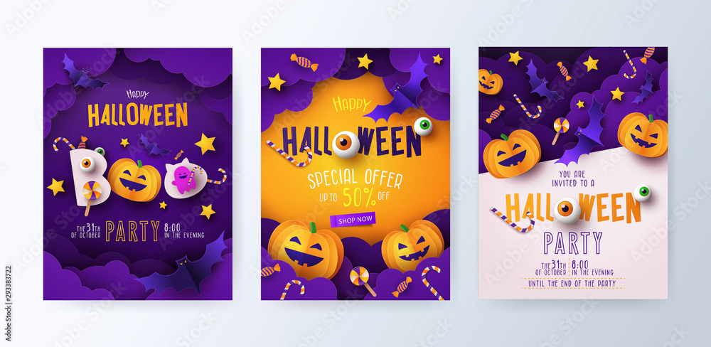 Fototapeta Set of Halloween party invitations, greeting cards, or posters with calligraphy, cutest pumpkins, bats and candy in night clouds. Design template for advertising, web, social media. Paper cut style