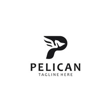 Letter P Pelican Logo Abstract...