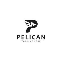 Letter P Pelican Logo Abstract Design Vector Template . Initial Alphabet Pelican Logo Design Black Silhouette