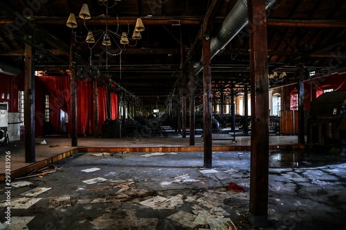 Poster Old abandoned buildings vintage abandoned old hemp factory