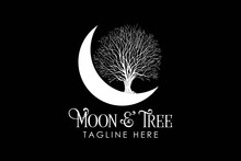 Moon And Tree Logo Template