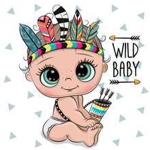 Cartoon Baby With Feathers On A White Background
