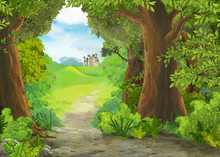 Cartoon Nature Scene With Beau...