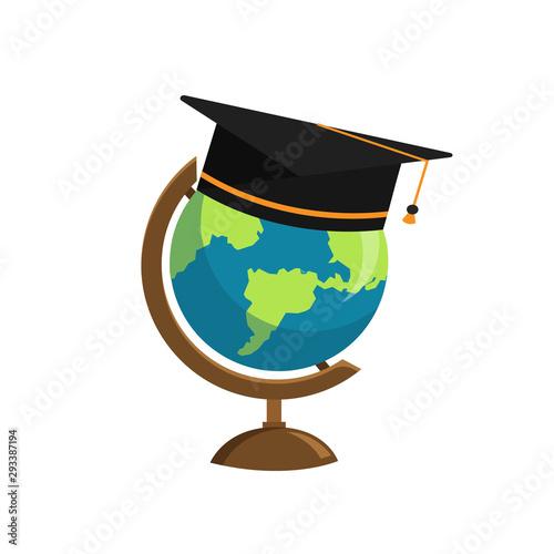 Photo The graduation cap and globe icon isolated on white background