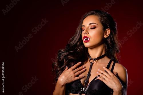 Fotografia  Close-up portrait of nice attractive stunning gorgeous chic adorable black brune
