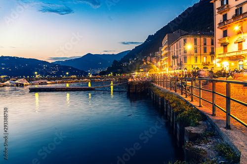 Poster Mer coucher du soleil Lake Como, Italy