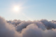 Leinwandbild Motiv Flight through moving cloudscape with beautiful sun rays. Beautiful realistic flight over cumulus lush clouds at sunset. 3d illustration