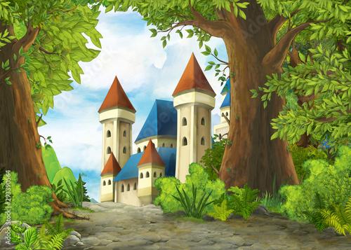 Kreskówki natury scena z pięknym kasztelem - ilustracja dla dzieci