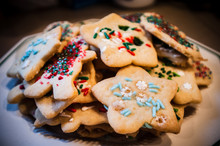 Appetizing Decorated Christmas Cookies On Platter