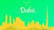 Leinwandbild Motiv Welcome to Dubai with world famous landmarks, Dubai skyline buildings and architecture. Business Travel and Tourism Concept with Modern Architecture. Dubai Cityscape with Landmarks. Greeting card