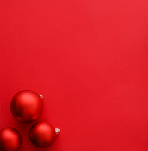 Christmas Baubles On Red Flatl...