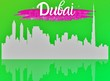 Leinwandbild Motiv Dubai city skyscraper and the world dubai written in Arabic and English . Illustration. Business travel and tourism concept with modern buildings. Image for banner or web site. welcome to Dubai