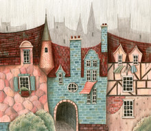 Medieval City Street With Houses And Trees.  Hand Drawn Watercolor And Colored Pencols Illustration.