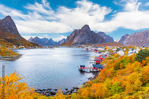 Reine Fishing Village In Lofoten Islands Norway Fototapet