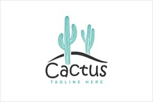 Cactus Logo Template With 2 Green Cactus On A Desert