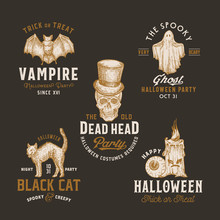 Vintage Style Halloween Logos Or Labels Template Set. Hand Drawn Vampire Bat, Scull, Candle, Eye, Cat And Ghost Sketch Symbols Collection. Retro Typography. Dark Background