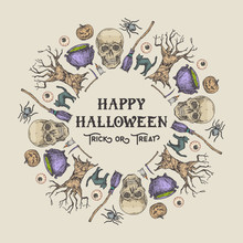 Halloween Sketch Wreath, Banner Or Card Template. Advertising Holiday Vector Illustration With Retro Typography And Bright Colors. Hand Drawn Pumpkin, Cat, Tree, Scull, Scythe And Candle.