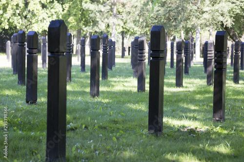 Fototapeta  Kopfbrett in einem Friedhof als Gedenkstätte der ungarischen Revolution is 1956