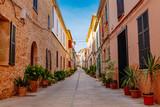 Fototapeta Uliczki - narrow street in old town of Mallorca Spain