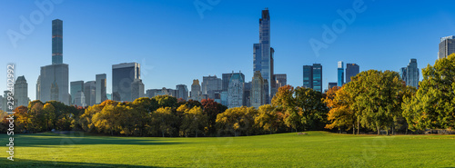 Morning panoramic view of the Central Park Sheep Meadow in Fall Fototapeta