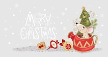 Christmas Card With A Cute Mouse And Festive Elements. Vector Illustration.