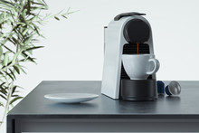 Espresso Coffee Capsules Machine In Process Of Making Fresh Coffee In Modern Cozy Kitchen. 3d Rendering. Breakfast Time.