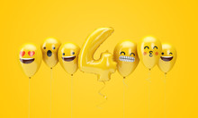 Number 4 Yellow Birthday Emoji Faces Balloons. 3D Render
