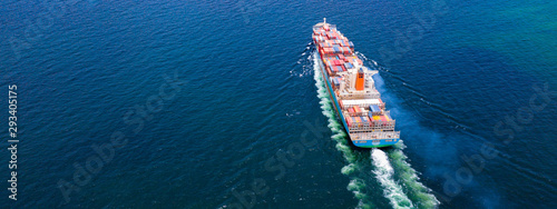 Cargo ships with full container receipts to import and export products worldwide Canvas Print
