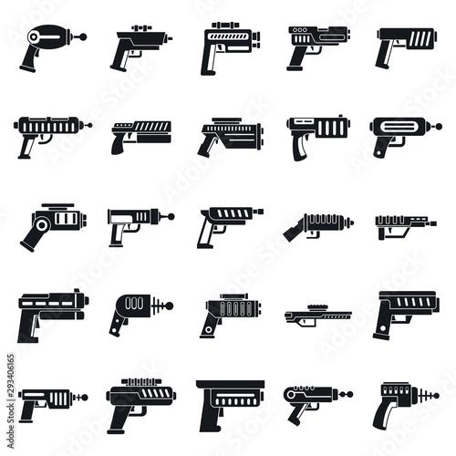 Blaster gun icons set Canvas Print