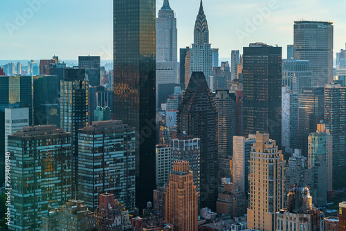 Fototapeta Aerial view of the skyscrapers of Midtown Manhattan New York City obraz