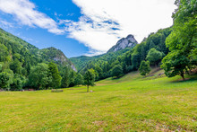 Slovakia National Parkland Mala Fatra - View From Maly Rozsutec Mountain To Nearby Hills And Valleys. Sunny Summer Day, Tourism And Hiking In Fresh And Pure Nature. Forest And Green Trees.