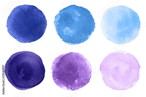 Photo sur Toile Forme Abstract watercolor blue and purple round brush strokes