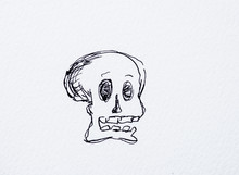 Skull The Spooky Watercolor Drawing. Halloween Scene Scary.