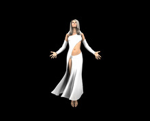 3D Render Of Angel Woman Floating In The Air