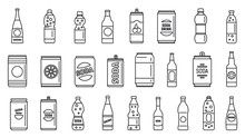 Cold Soda Icons Set. Outline S...