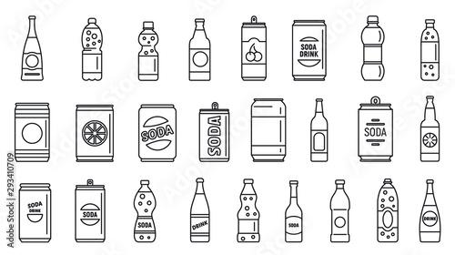 Cold soda icons set Fototapete