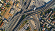 Leinwanddruck Bild - Aerial photo of Attiki Odos multilevel junction highway leading to Athens International Airport Eleftherios Venizelos, Attica, Greece