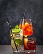 Leinwandbild Motiv Three classic cocktail glasses