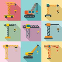 Crane Icons Set. Flat Set Of C...