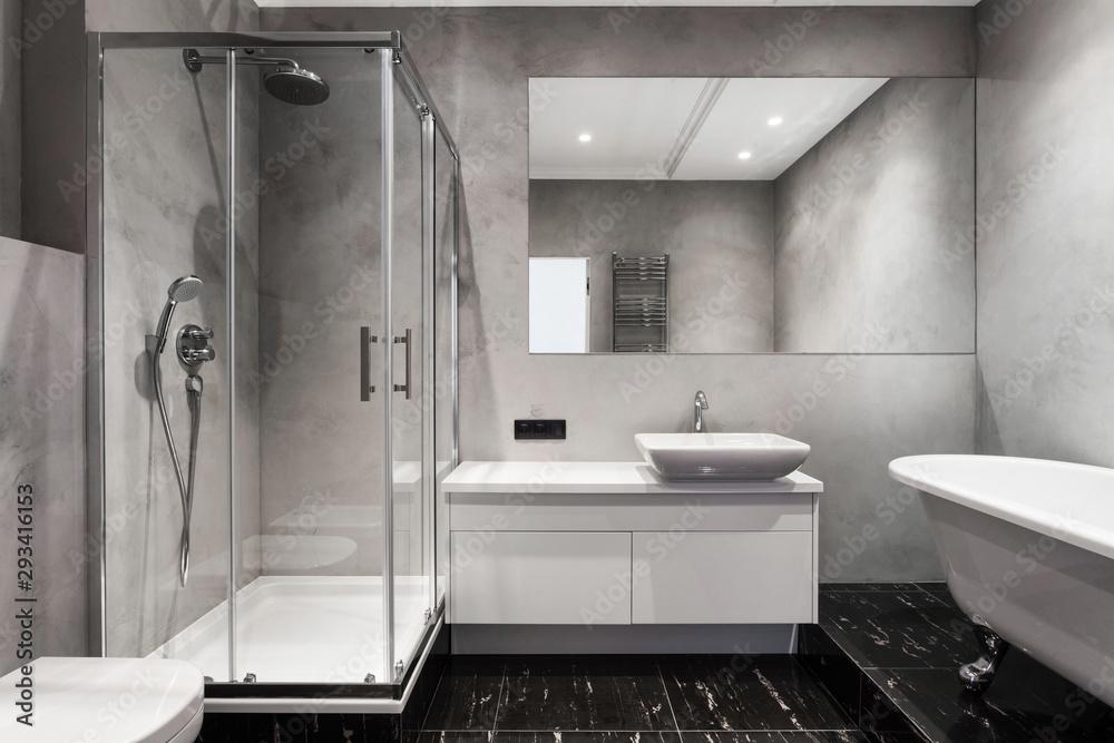 Fototapety, obrazy: Modern interior of new bathroom in house