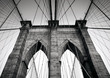 Brooklyn Bridge in black and white, NYC, Manhattan, USA