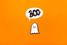 Ghost Kid Saying Boo On Orange...