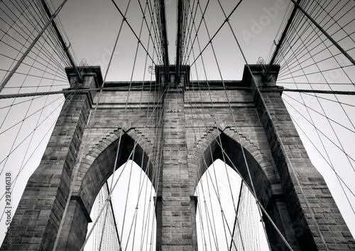 Fototapety, obrazy: Brooklyn Bridge in black and white, NYC, Manhattan, USA