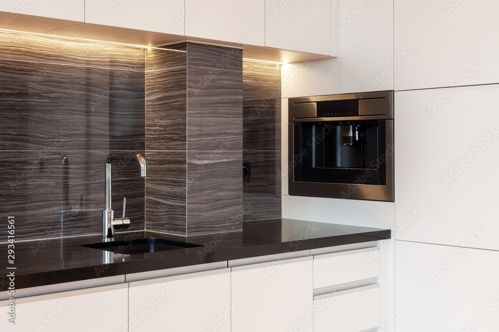 Fototapeta Modern and new kitchen with built in appliance
