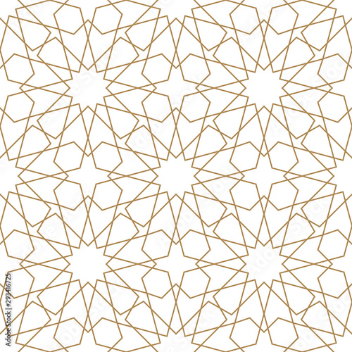 Türaufkleber Künstlich Seamless arabic geometric ornament in brown color.