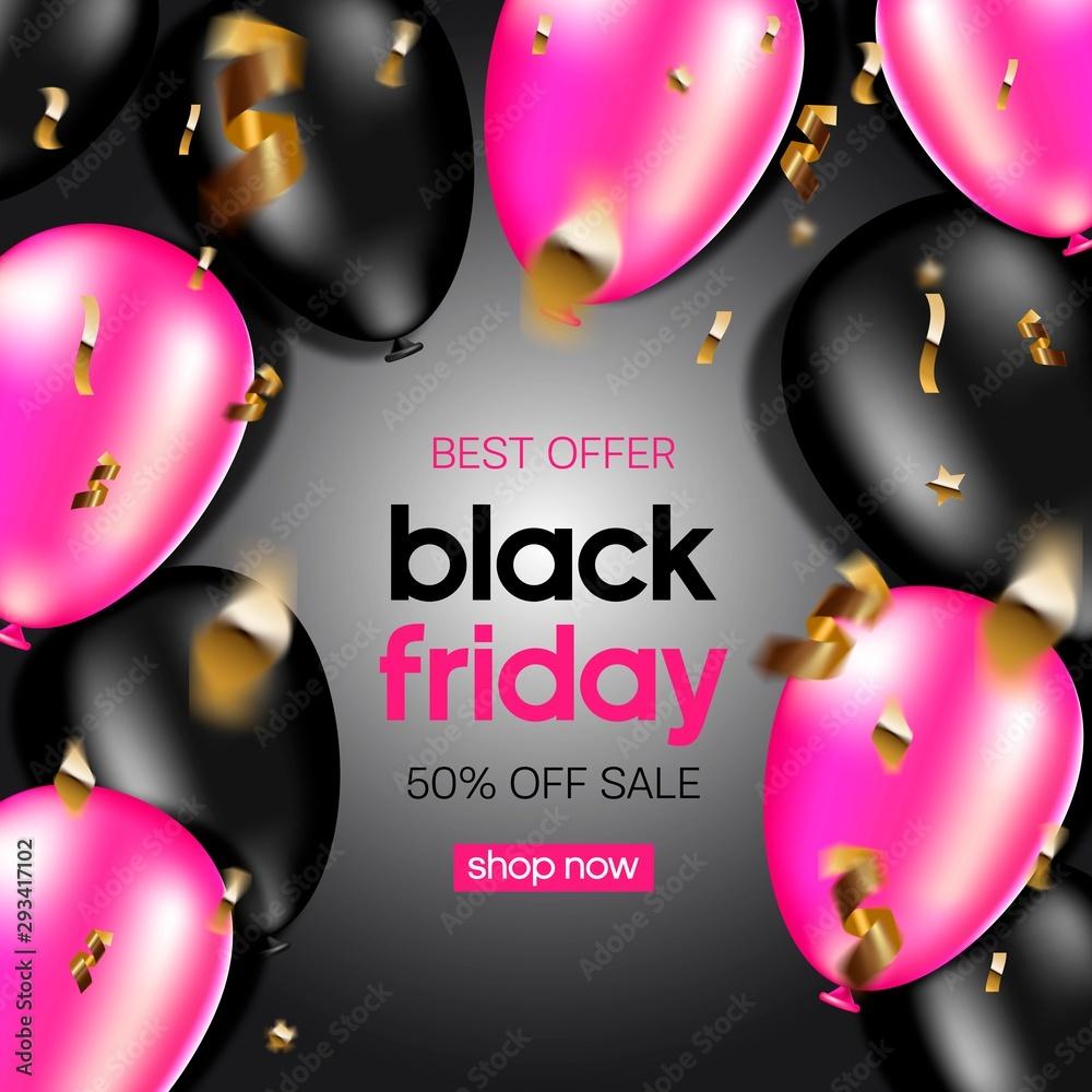 Fototapeta Black Friday Sale banner. Huge Discount banner.